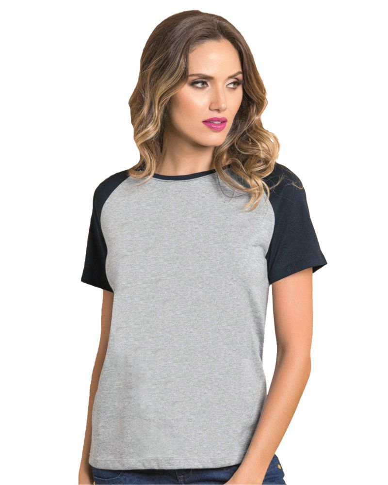 Camiseta Feminina Raglan Mescla Básica Lisa