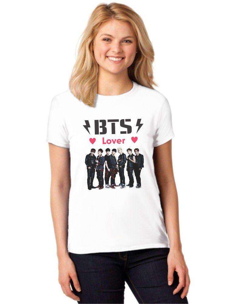 Camiseta Feminina T-Shirt BTS Lover Bangtan Boys Baby Look ES_100