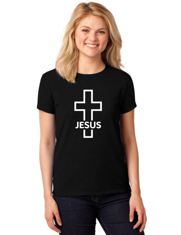 Camiseta Feminina T-Shirt Crucifixo Jesus Cruz Gospel Baby Look ER_168