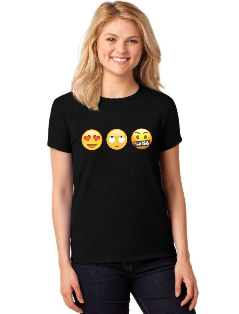 Camiseta Feminina T-Shirt Emojis Baby Look Emoticons ER_146