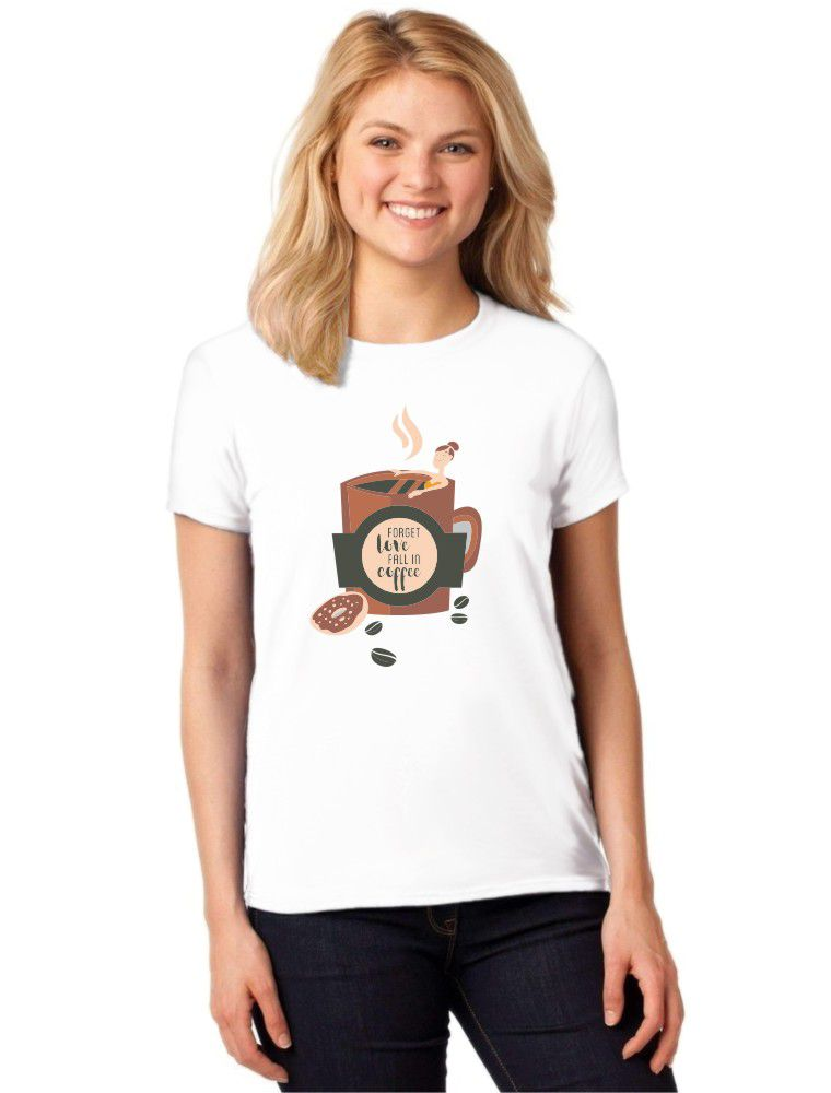 Camiseta Feminina T-Shirt Forget Love Fall In Coffee Baby Look ES_123