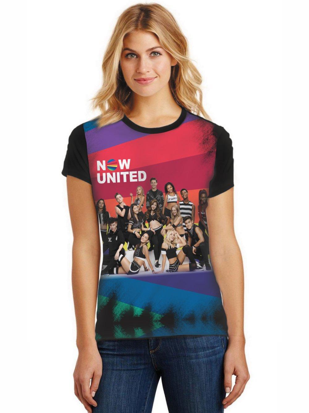 Camiseta Feminina T-Shirt Full Printed Banda Now United Integrantes Baby Look FP_034