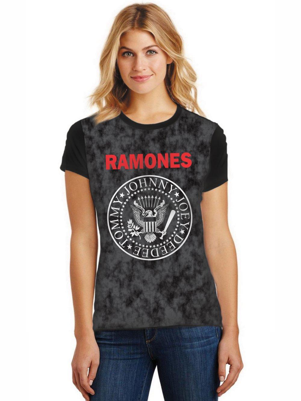 Camiseta Feminina T-Shirt Full Printed Banda Ramones Baby Look FP_007