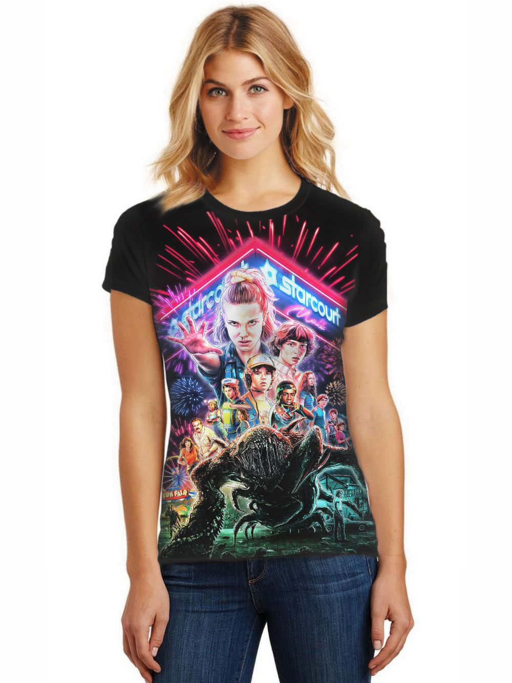 Camiseta Feminina T-Shirt Full Printed Série Stranger Things Baby Look FP_005