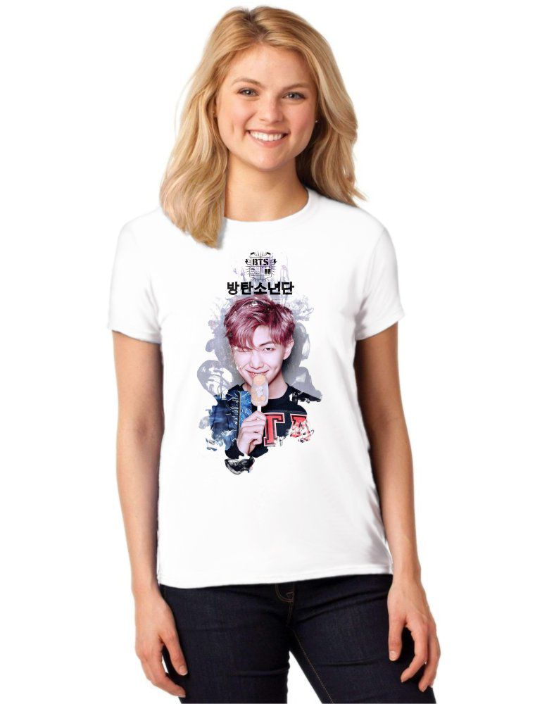 Camiseta Feminina T-Shirt Kpop BTS Rap Monster You Never Walk Alone ES_160