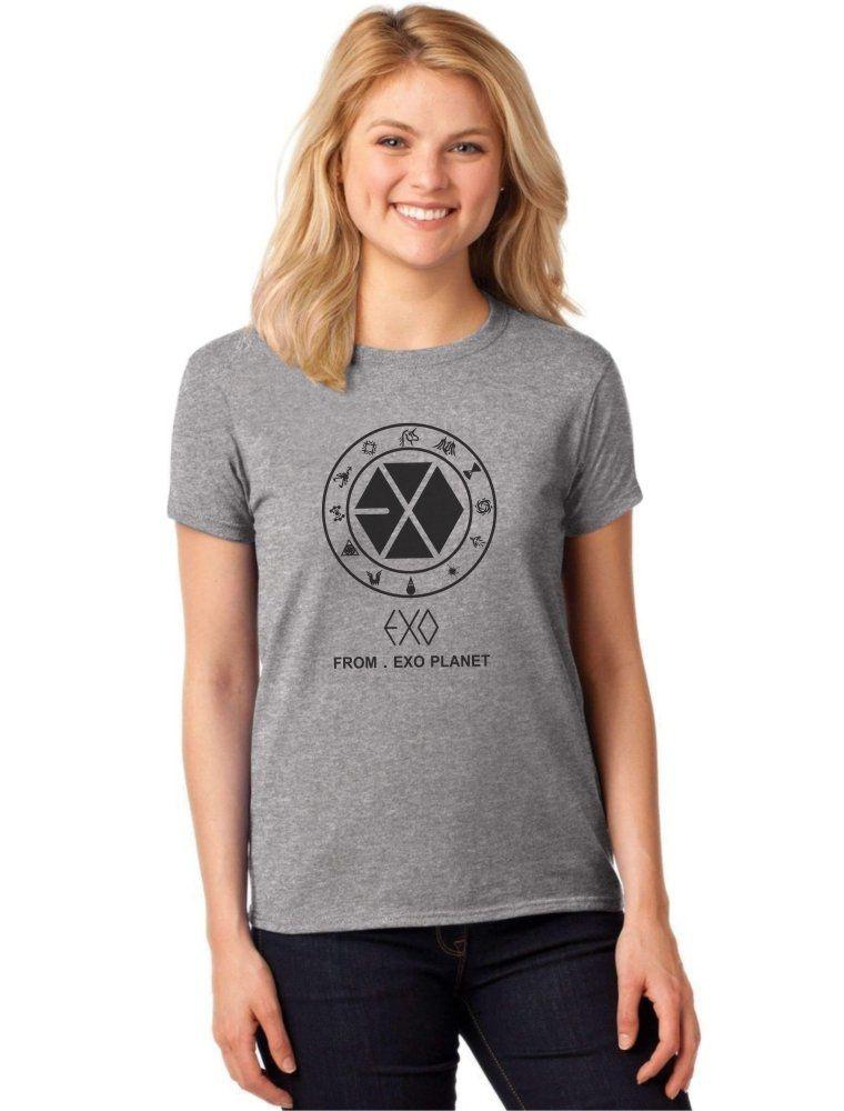 Camiseta Feminina T-Shirt Kpop Exo From Exo Planet Baby Look ES_102