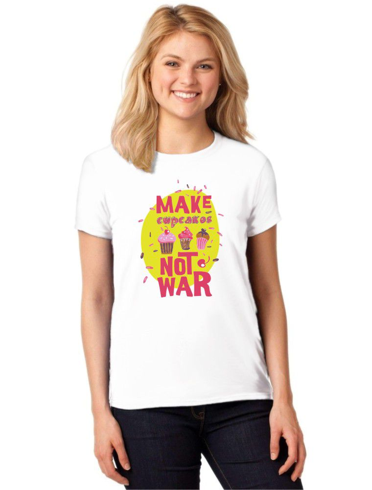 Camiseta Feminina T-Shirt Make Cupcakes Not War Baby Look ES_121
