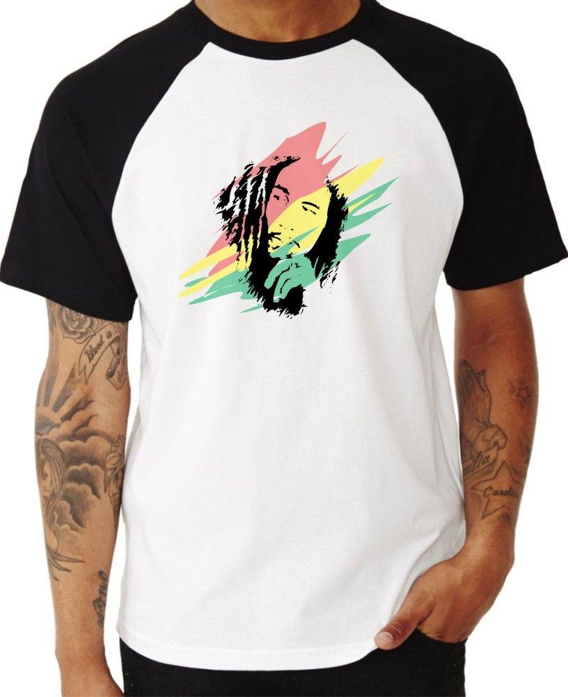 Camiseta Masc Raglan Bob Marley Rasta ES_009