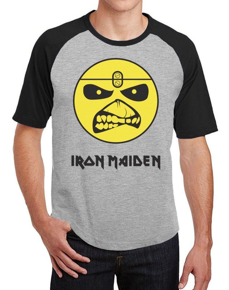 Camiseta Masc Raglan Iron Maiden Eddie Logo ES_039
