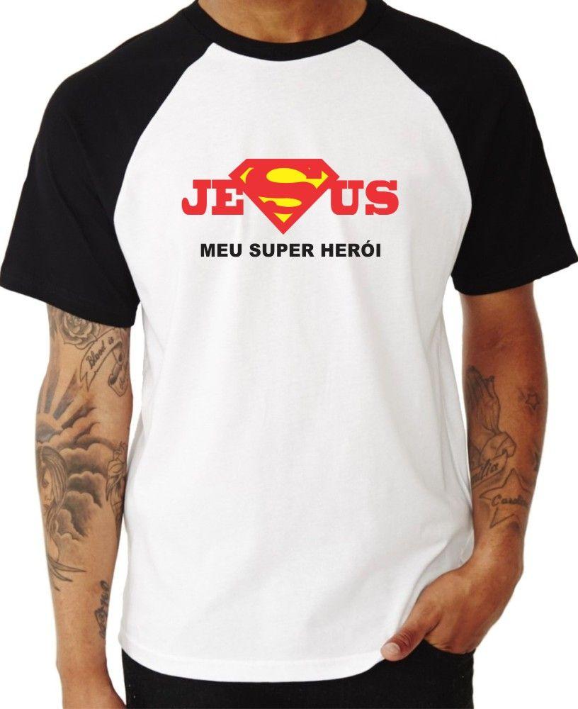 Camiseta Masc Raglan Jesus Meu Super Herói ES_057