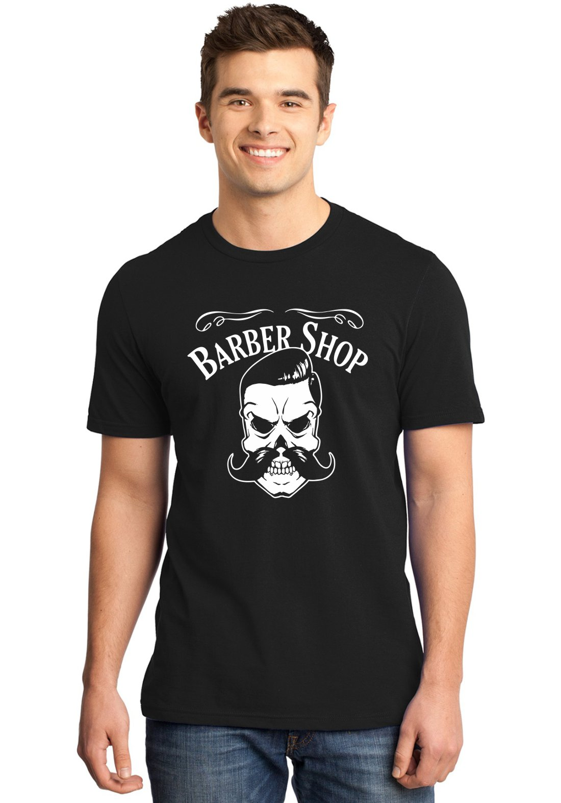 Camiseta Masculina Barbearia Clássica Barber Shop Caveira ER_158
