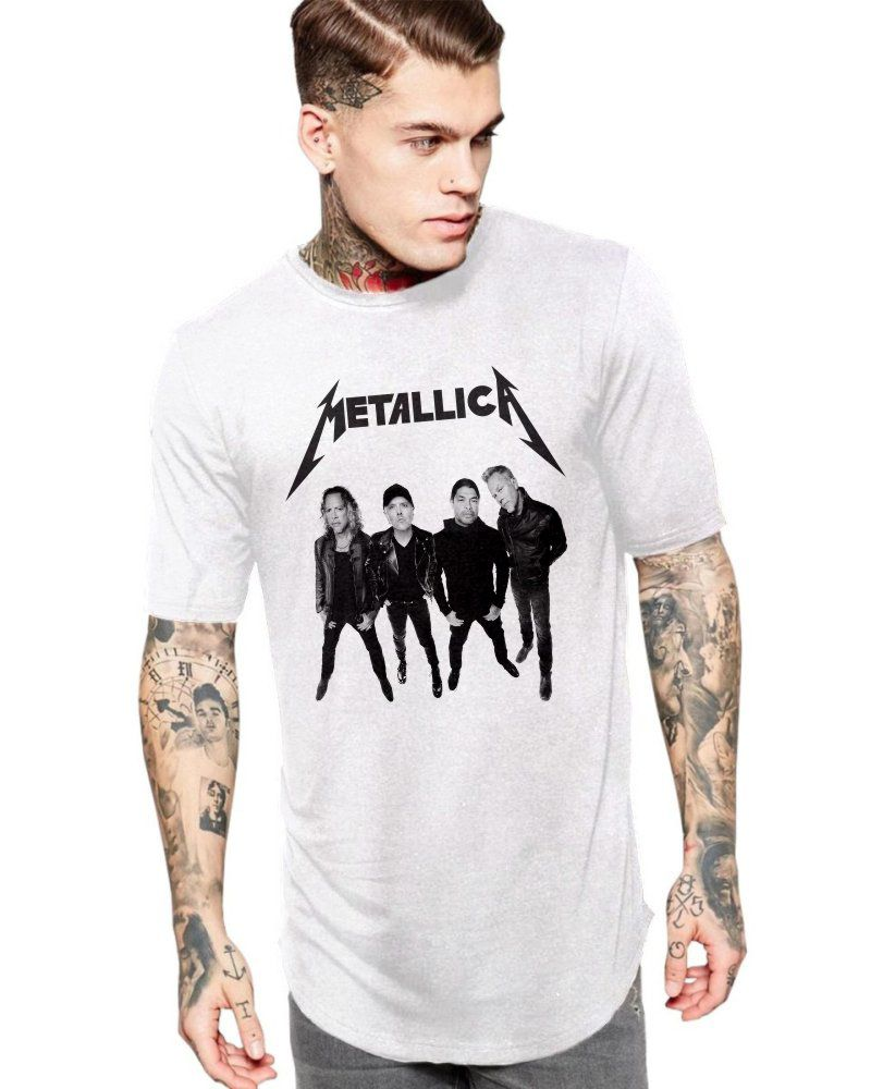 Camiseta Masculina Oversized Long Line Banda Metallica  ES_205