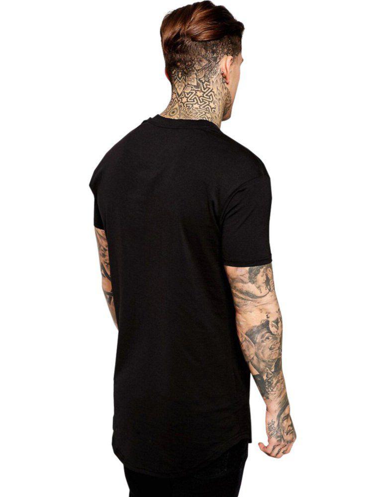 Camiseta Masculina Oversized Long Line Banda Metallica Black Album ER_120