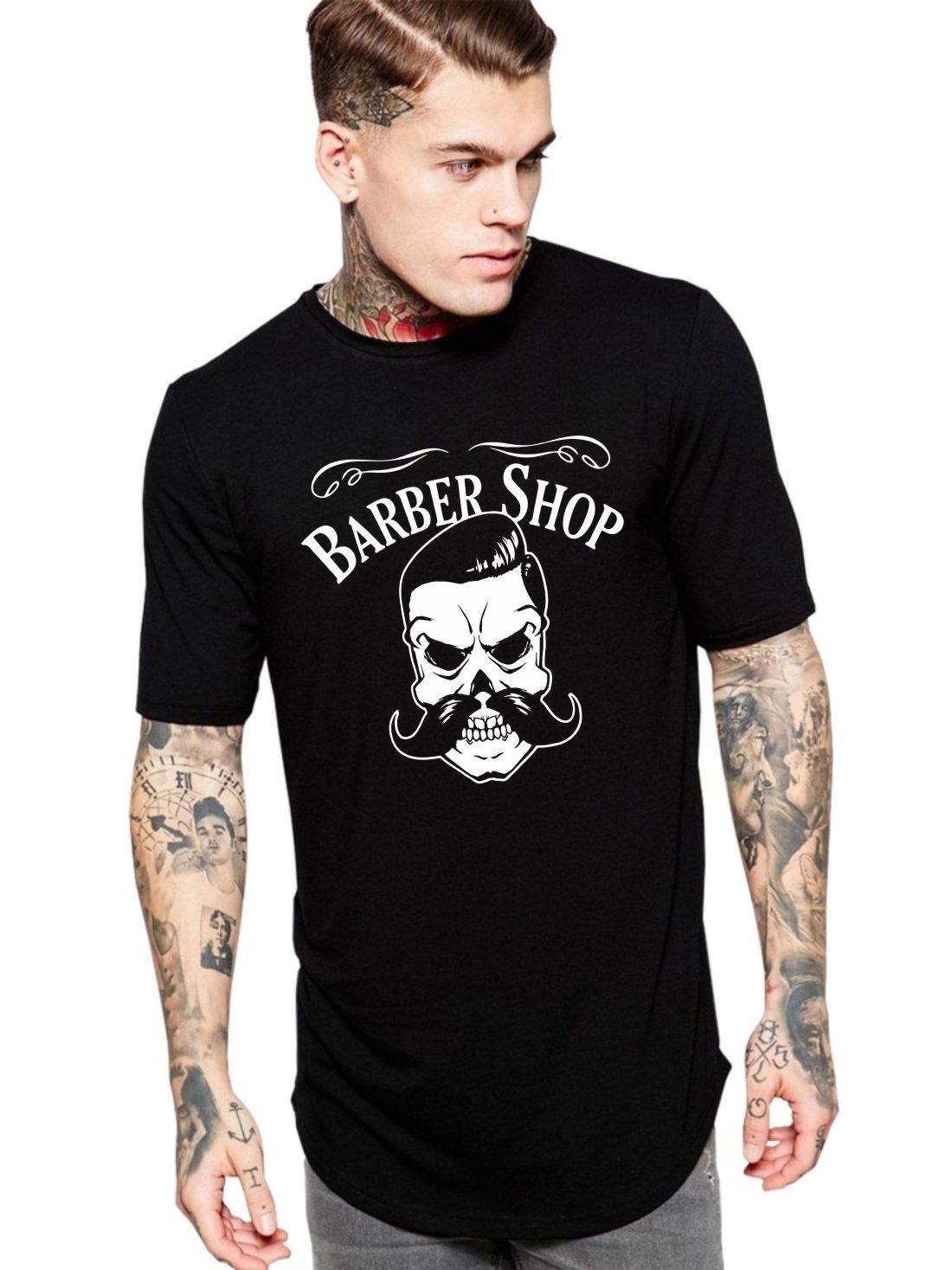 Camiseta Masculina Oversized Long Line Barber Shop Skull ER_158