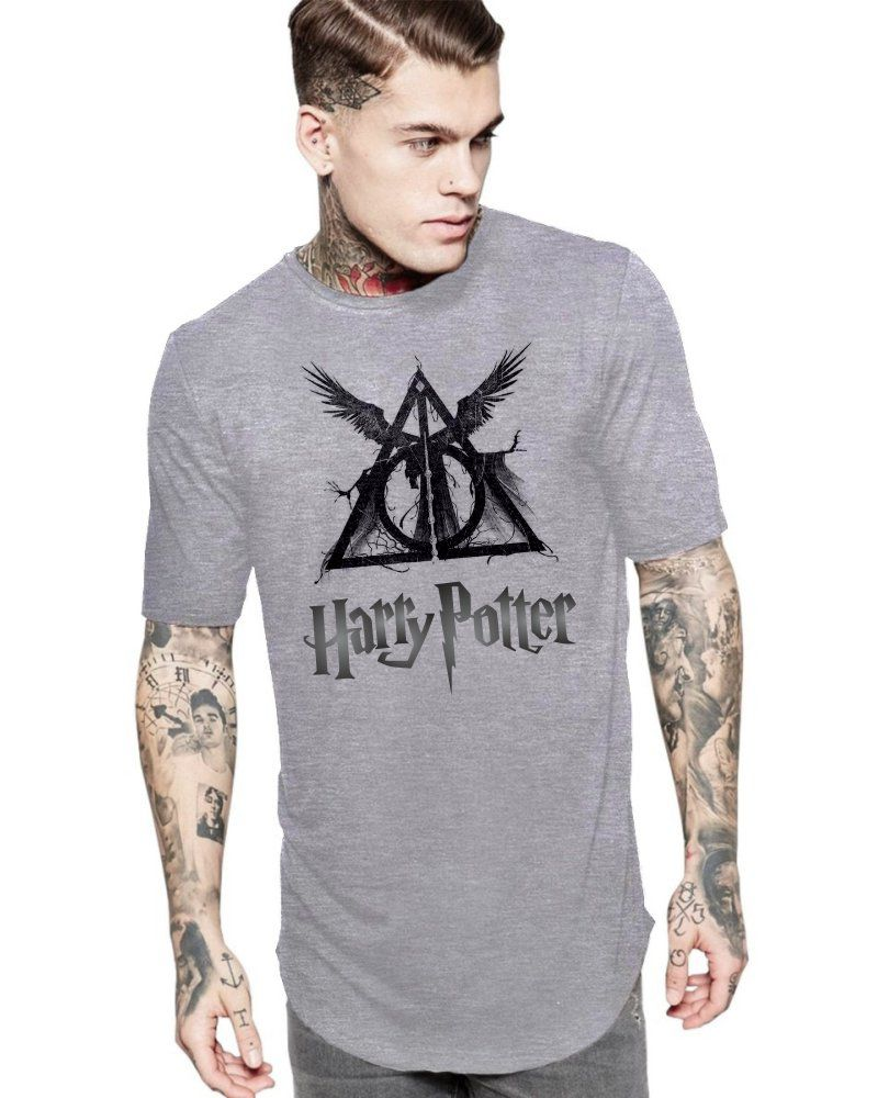 Camiseta Masculina Oversized Long Line Harry Potter Relíquias da Morte ES_135