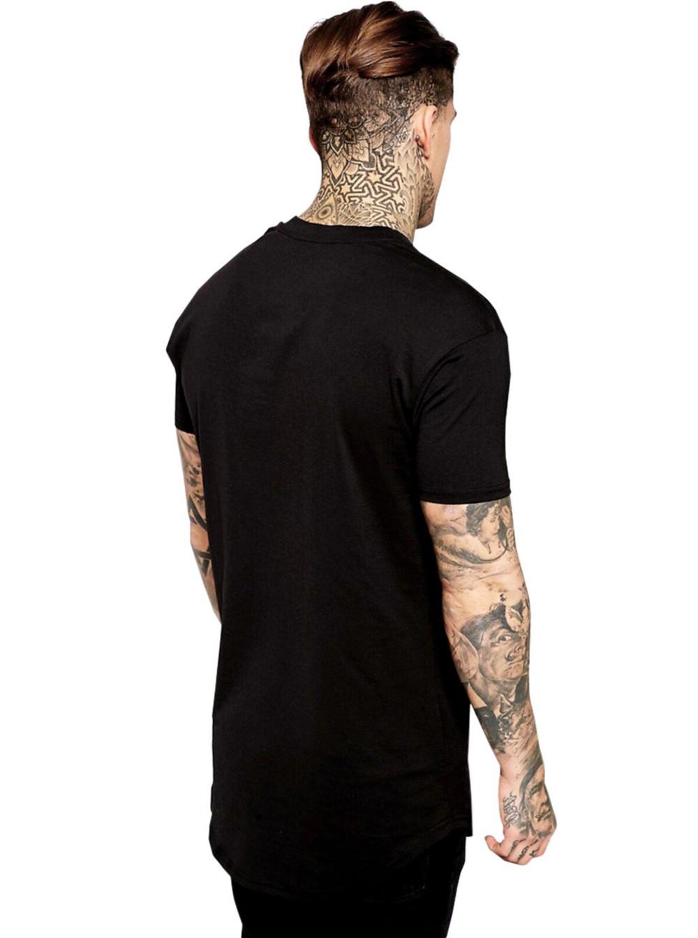 Camiseta Masculina Oversized Long Line Lisa Algodão