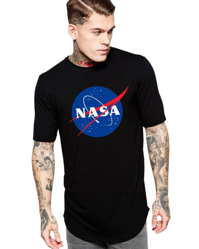 Camiseta Masculina Oversized Long Line Nerd Nasa Logo Geek ER_113