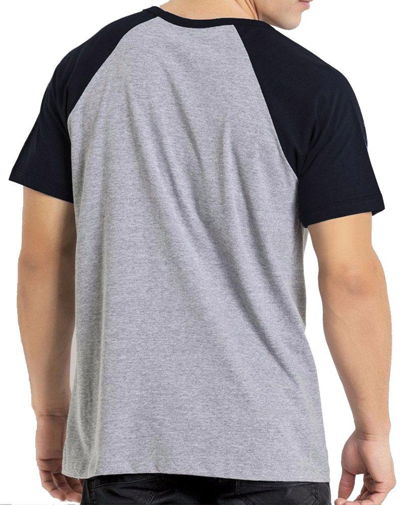 Camiseta Masculina Raglan Mescla Básica Lisa