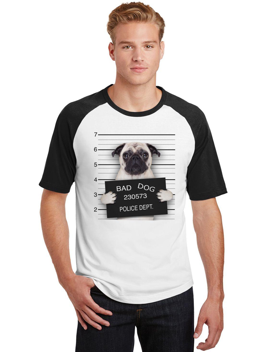 Camiseta Masculina Raglan Pets Bad Dog Pug ES_194