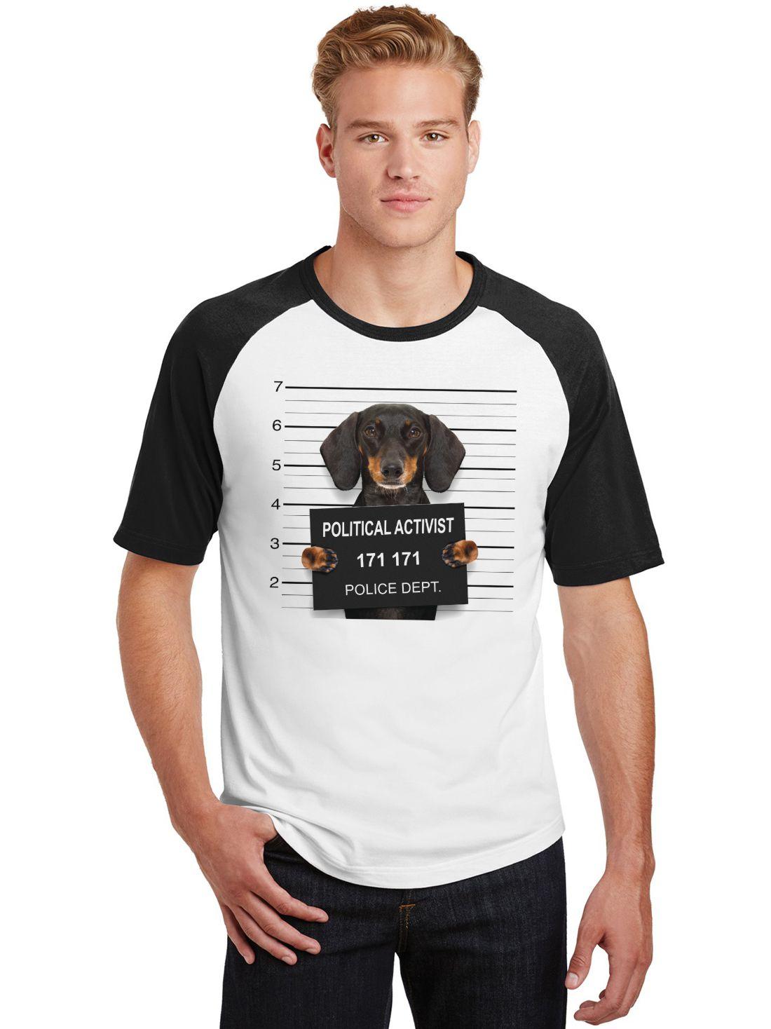 Camiseta Masculina Raglan Pets Dachshund Political Activist ES_192