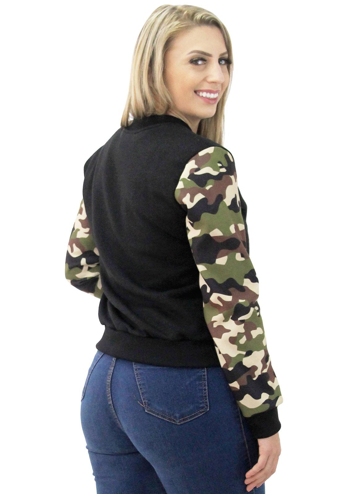 Jaqueta Bomber Feminina Camuflada Casaco Moletom Zíper Estampado
