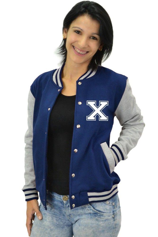 Jaqueta College Feminina Universitária Americana - Letra X