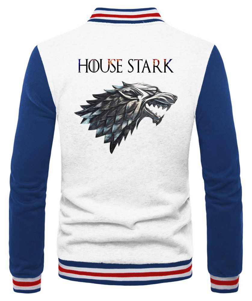 Jaqueta College Masculina Branca Game Of Thrones House Stark ES_178