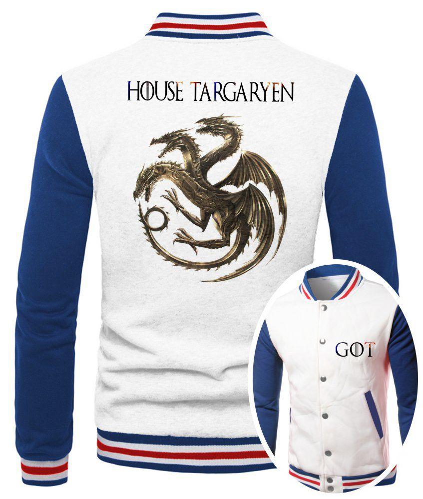 Jaqueta College Masculina Branca Game Of Thrones House Targaryen ES_179