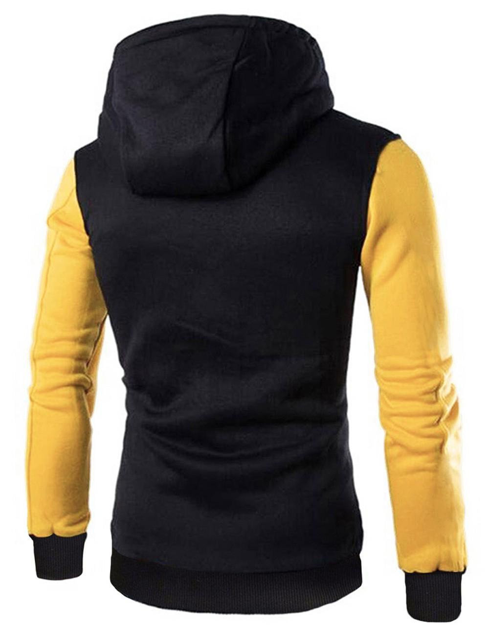 Jaqueta College Moletom Masculina Preta | Amarela Com Capuz