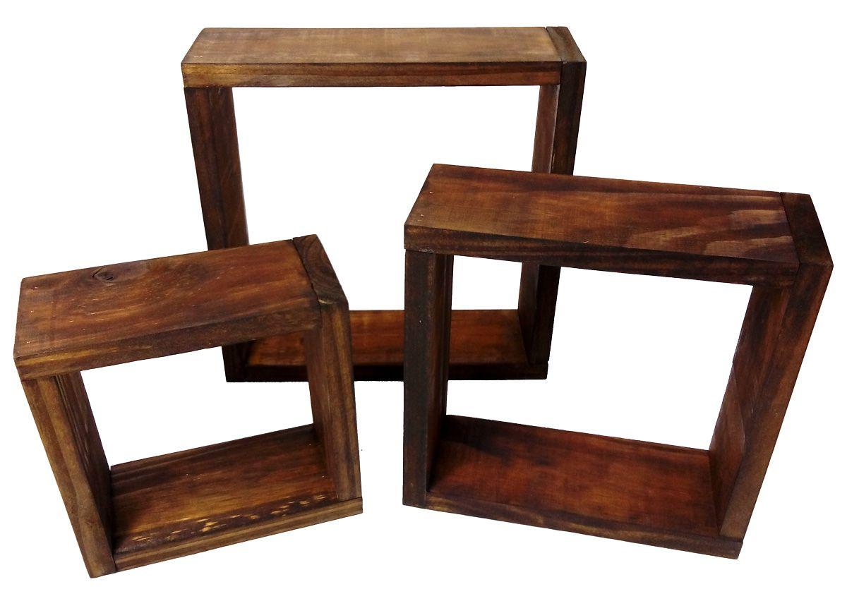 Kit Nicho Decorativo Madeira Rústico Trio Simples