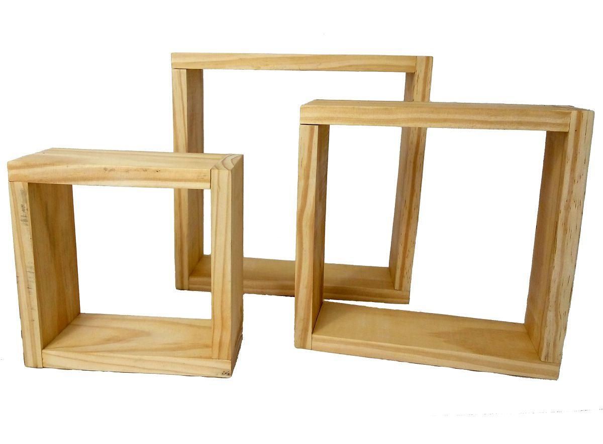 Kit Nicho Decorativo Madeira Rústico Trio Simples Cru