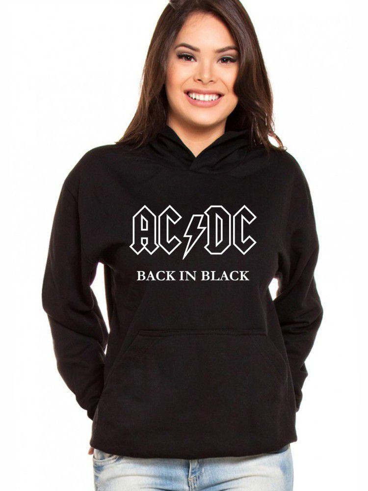 Moletom Canguru Feminino AC DC Back In Black ER_154