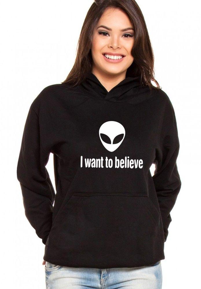 Moletom Canguru Feminino Alien I Want to Believe ER_034
