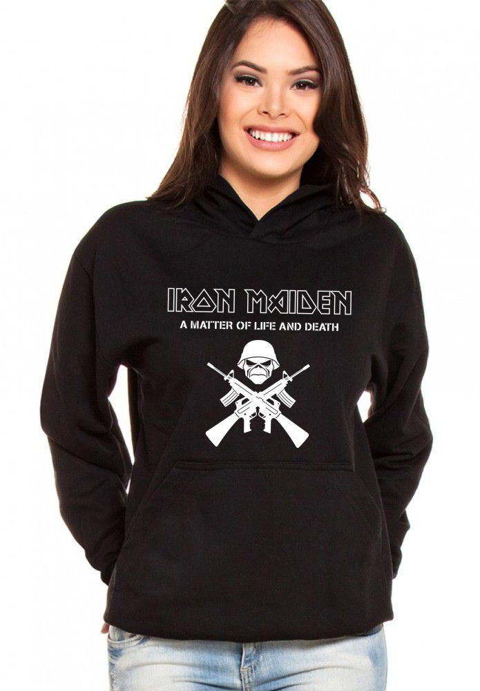 Moletom Canguru Feminino Iron Maiden A Matter Of Life And Death ER_073