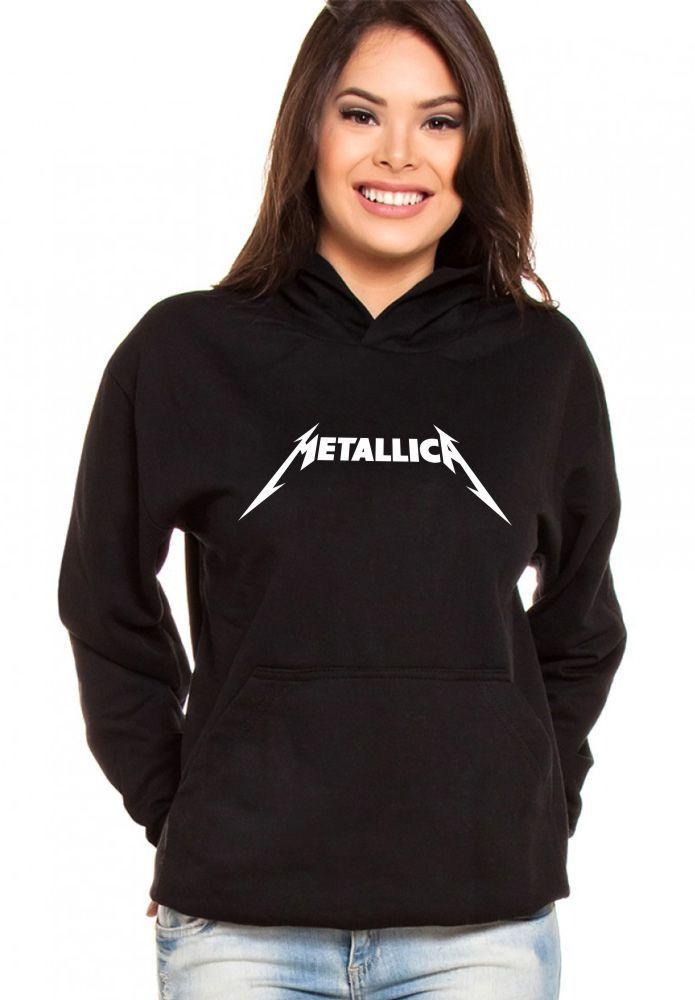 Moletom Canguru Feminino Metallica Logo ER_022
