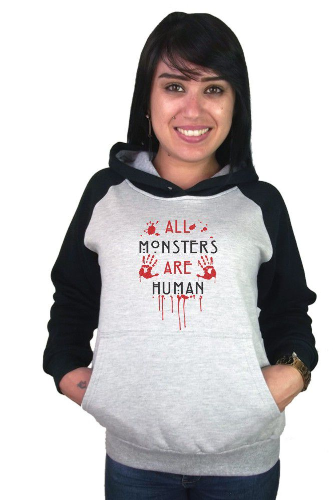 Moletom Canguru Feminino Raglan American Horror Story All Monsters Are Human ER_085