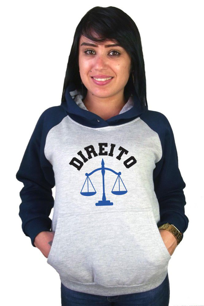 Moletom Canguru Feminino Raglan Faculdade Curso Direito