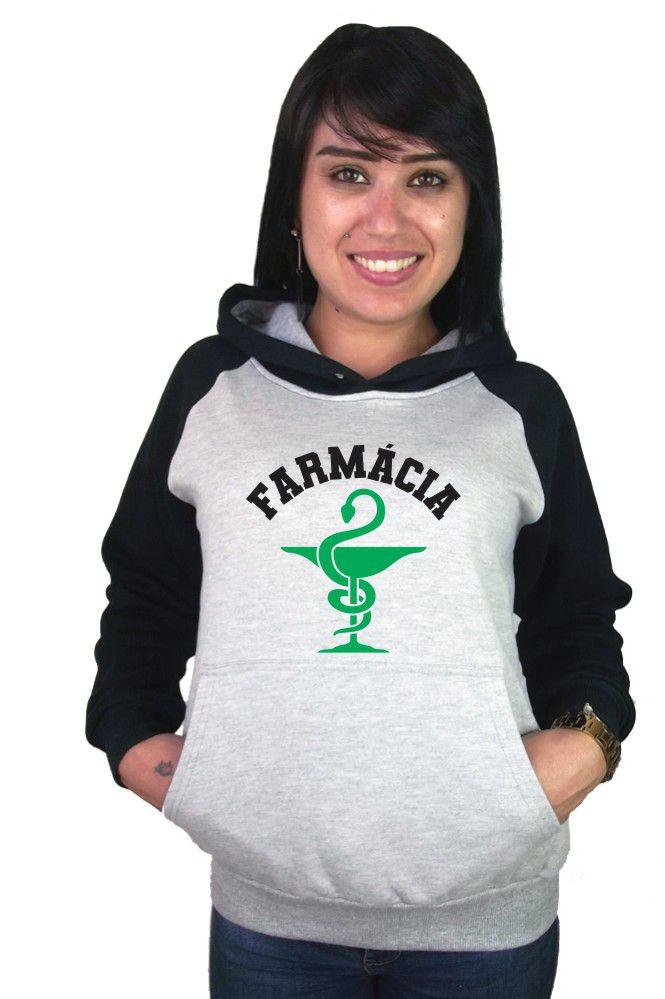 Moletom Canguru Feminino Raglan Faculdade Curso Farmacia