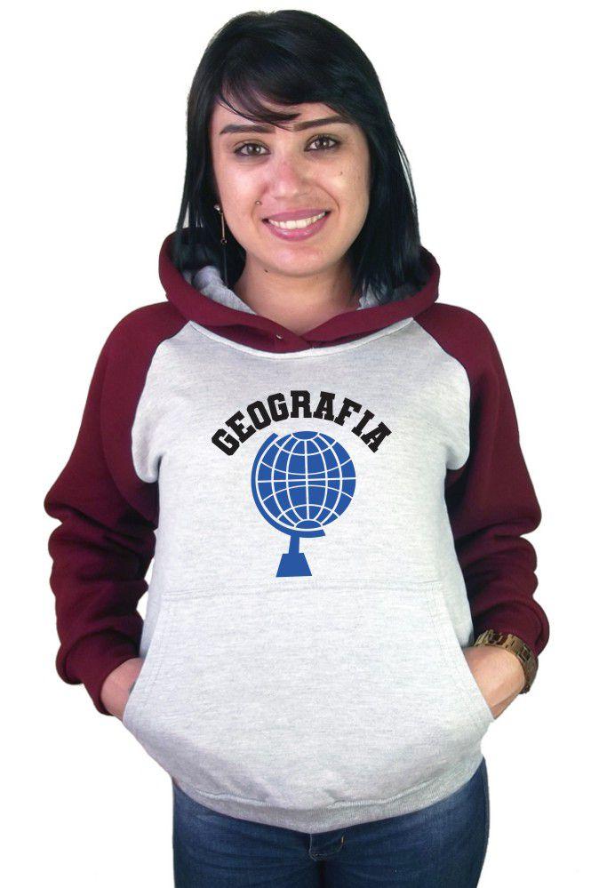 Moletom Canguru Feminino Raglan Faculdade Curso Geografia