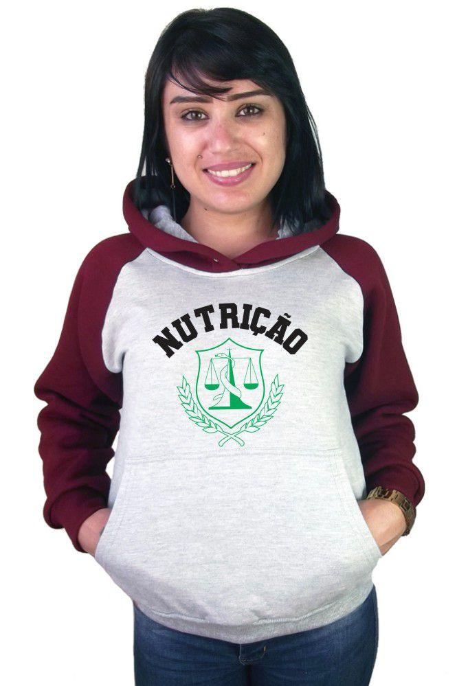 Moletom Canguru Feminino Raglan Faculdade Curso Nutrição