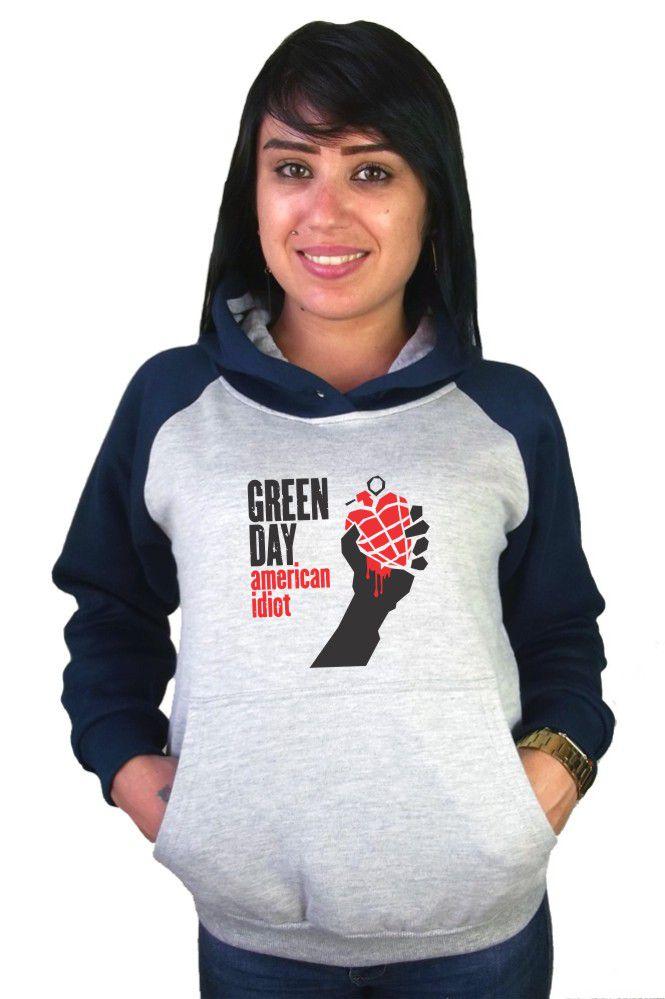 Moletom Canguru Feminino Raglan Green Day American Idiot ER_067