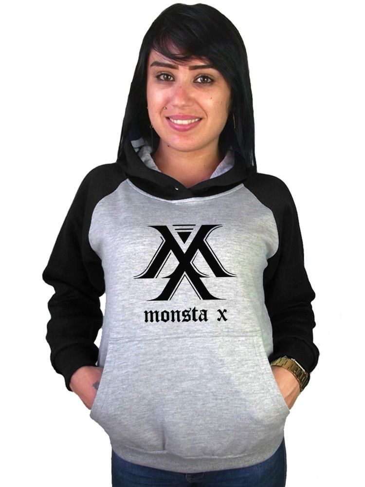 Moletom Canguru Feminino Raglan Kpop Monsta X ER_132