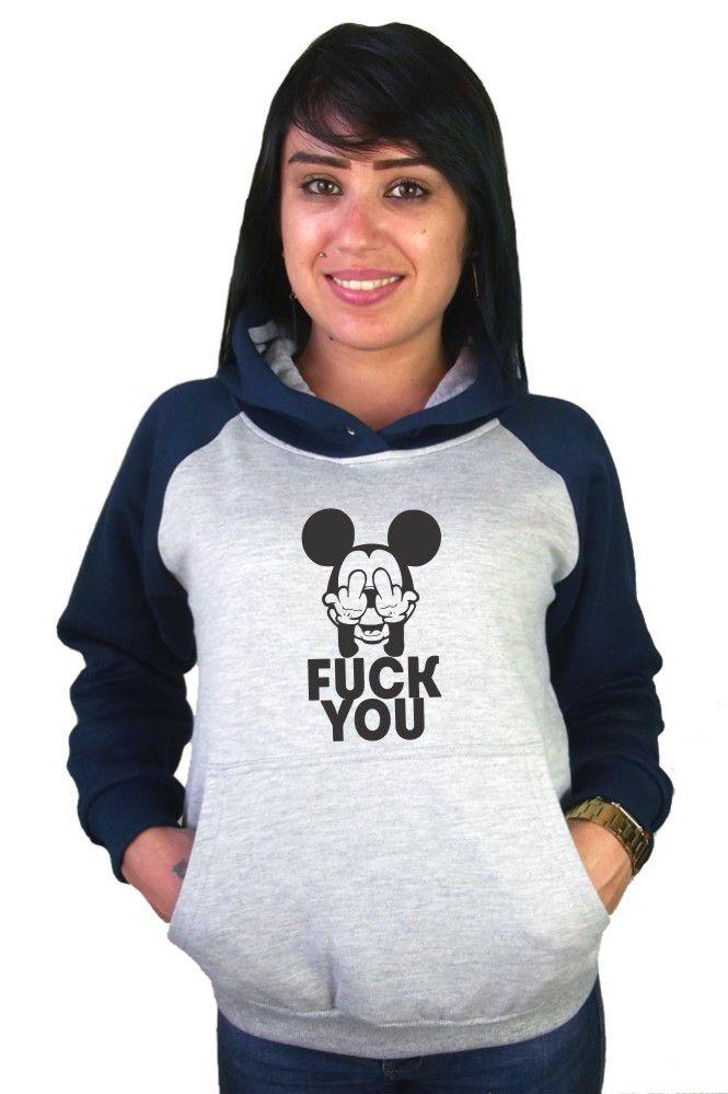 Moletom Canguru Feminino Raglan Mickey Fuck You ER_088