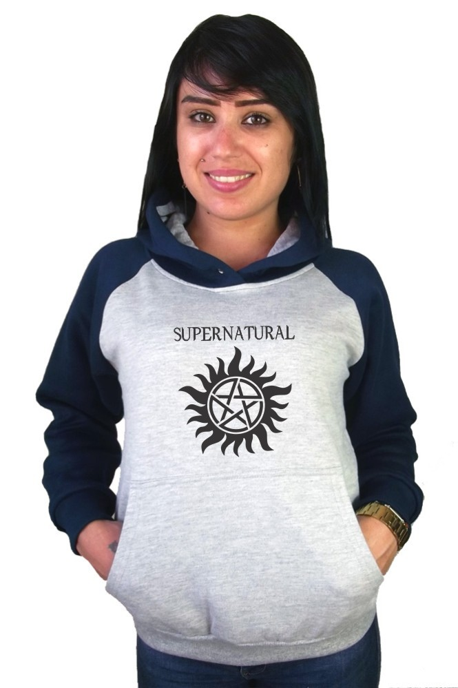 Moletom Canguru Feminino Raglan Supernatural Anti Possessão ER_042