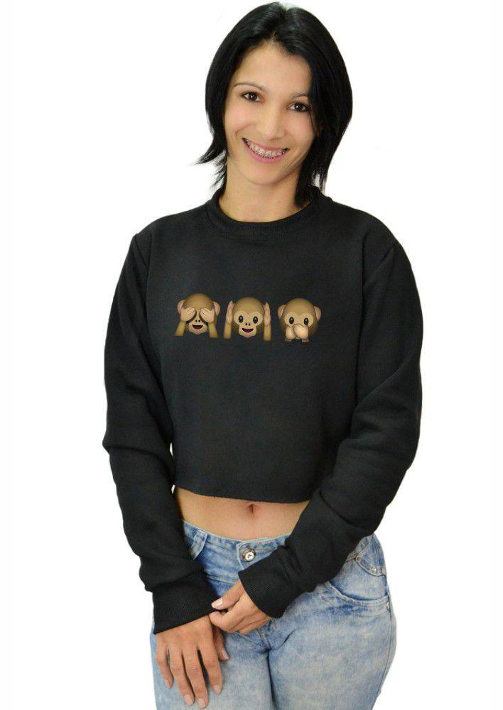Moletom Cropped Feminino Emoji Macacos ER_139