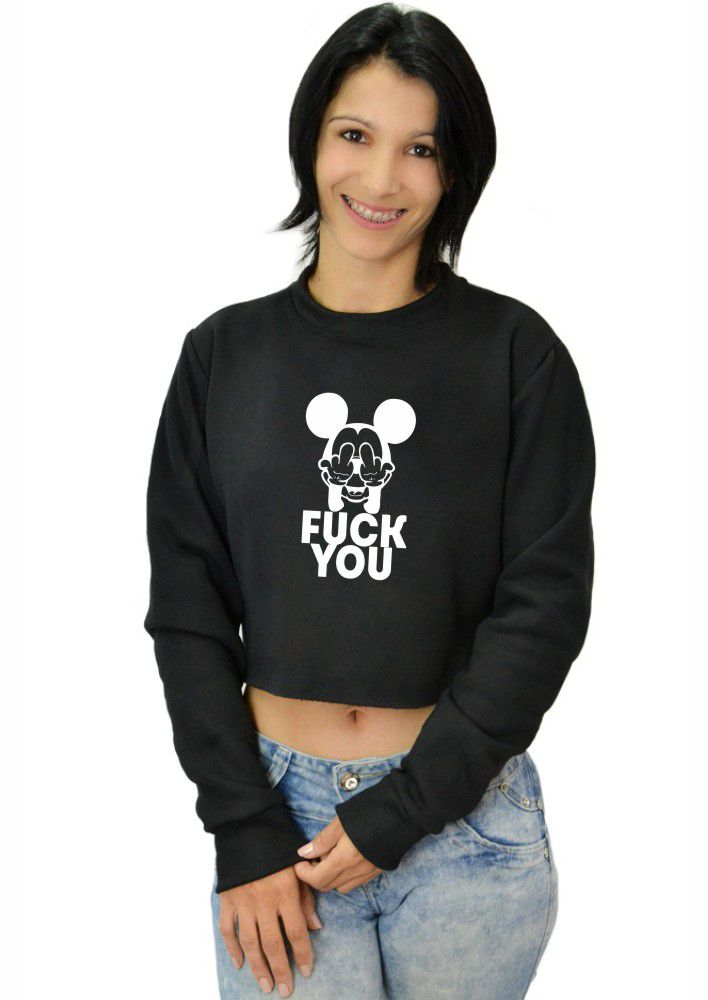 Moletom Cropped Feminino Mickey Fuck You ER_088