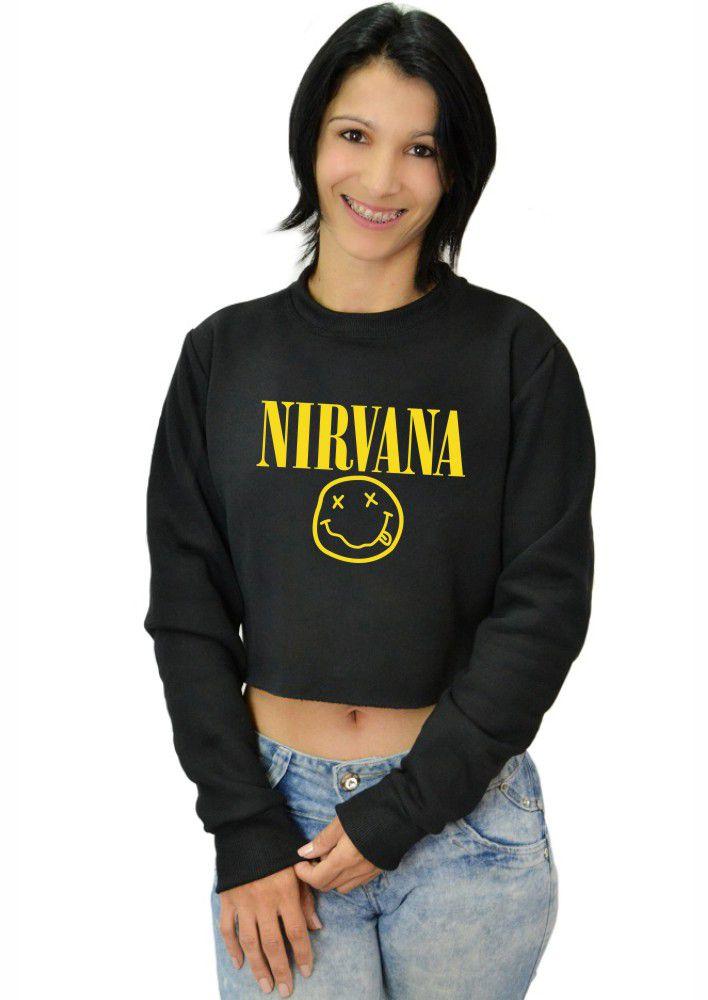 Moletom Cropped Feminino Nirvana Logo ER_012