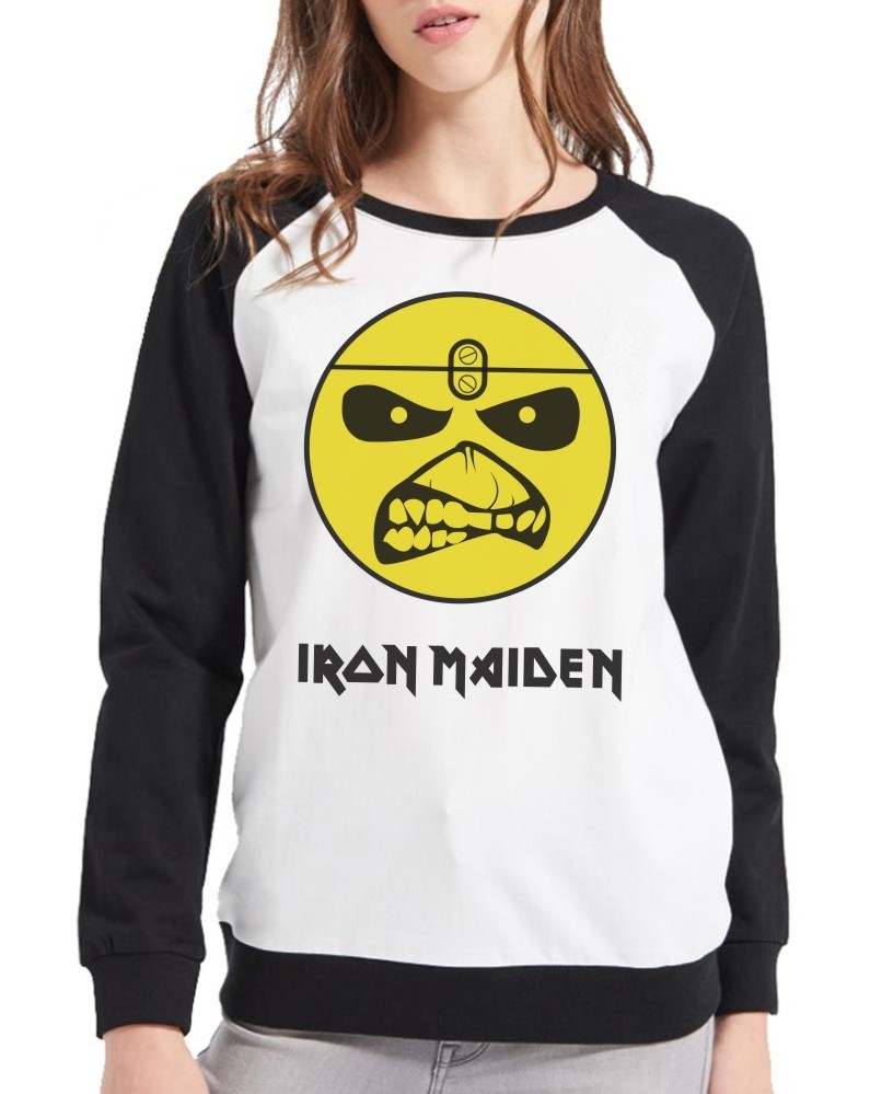 Moletom Raglan Feminino Iron Maiden Eddie Logo ES_039