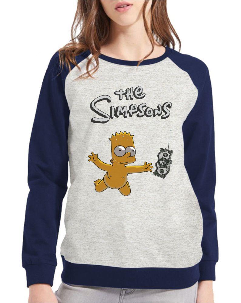 Moletom Raglan Feminino Mescla Bart Simpson Nevermind ES_107