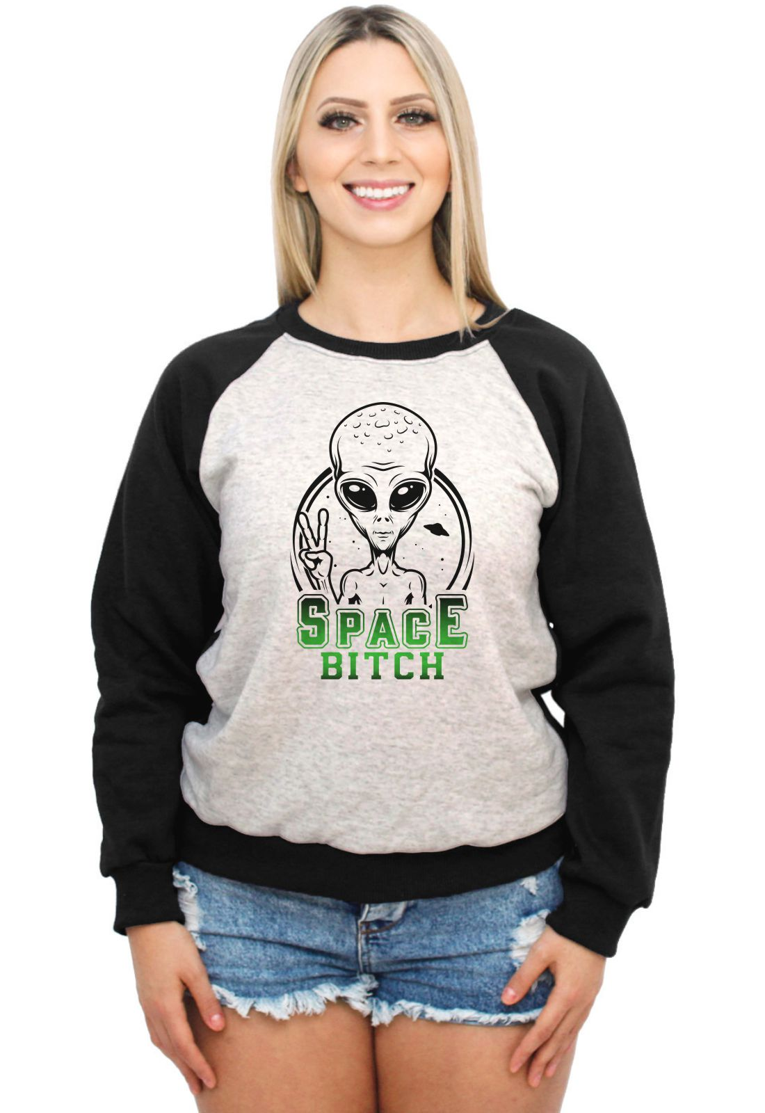 Moletom Raglan Feminino Mescla ET Alien Space Legend ES_215